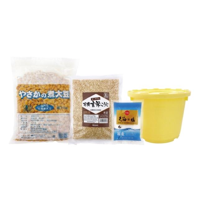 オーサワの手づくり玄米味噌セット (有機煮大豆・有機玄米麹使用)(樽つき) 1700g