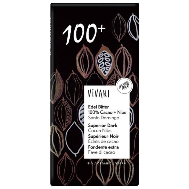 【冷蔵品】 ViVANIオーガニックエキストラダークチョコレート 100%+カカオニブ 80g