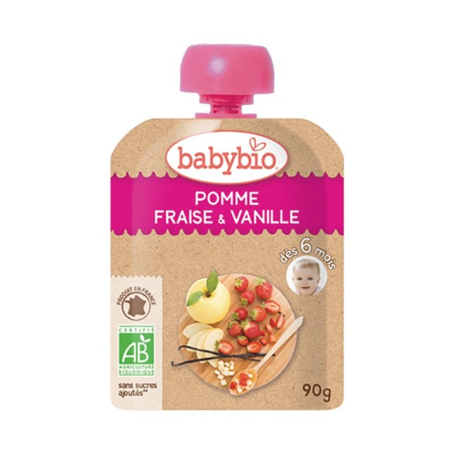 【10%OFF】baby bio(ベビー ビオ) 有機ベビースムージー(アップル・ストロベリー・バニラ) 90g