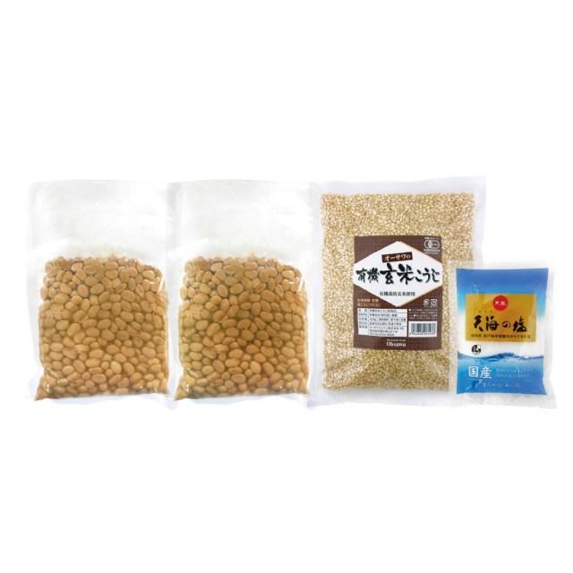 オーサワの手づくり玄米味噌セット (有機煮大豆・有機玄米麹使用)(樽なし大容量タイプ) 3400g