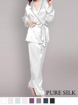 ローブスタイルパジャマ 全8色【レディース】 天然シルク100% (ライン入)