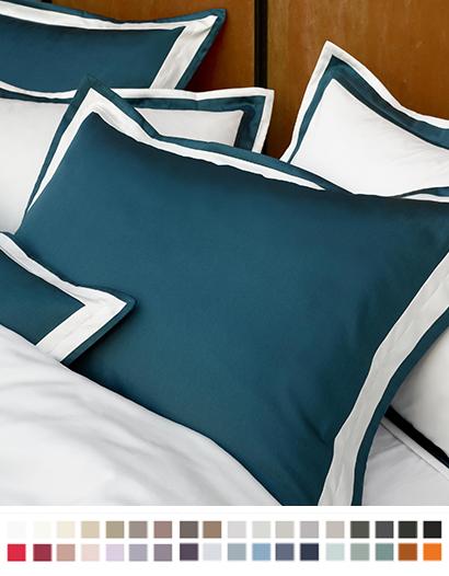 枕カバー縁付き【キング】全37色 エジプト綿(サテン織り・300TC) 【Banzi】