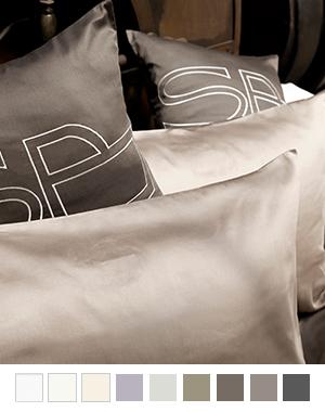 枕カバー縁付き【スタンダード】全9色 エジプト綿(サテン織り・600TC) 【Belladonna】