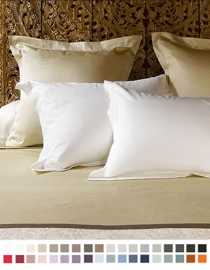 枕カバー縁付き【スタンダード】全37色 エジプト綿(サテン織り・300TC) 【Pella】