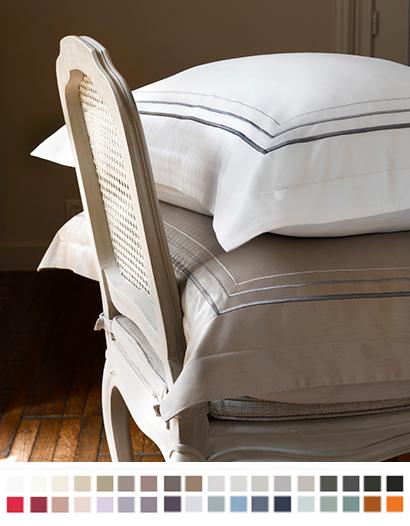 枕カバー縁付き【キング】全37色 エジプト綿(サテン織り・300TC) 【Triga】