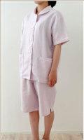 リネン パジャマ レディース ショールカラー (半袖・ショートパンツ) ランドゥヨーコ【バレンタイン】