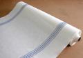 リネン 生地アイリッシュリネン(クロス幅65cm)ホワイト&ストライプ ブルー(1m単位)【麻】【手作り】【ハンドメイド】