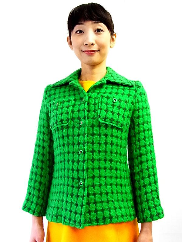 日本製 ヴィンテージ グリーン ダイヤ型刺繍 ウール ジャケット