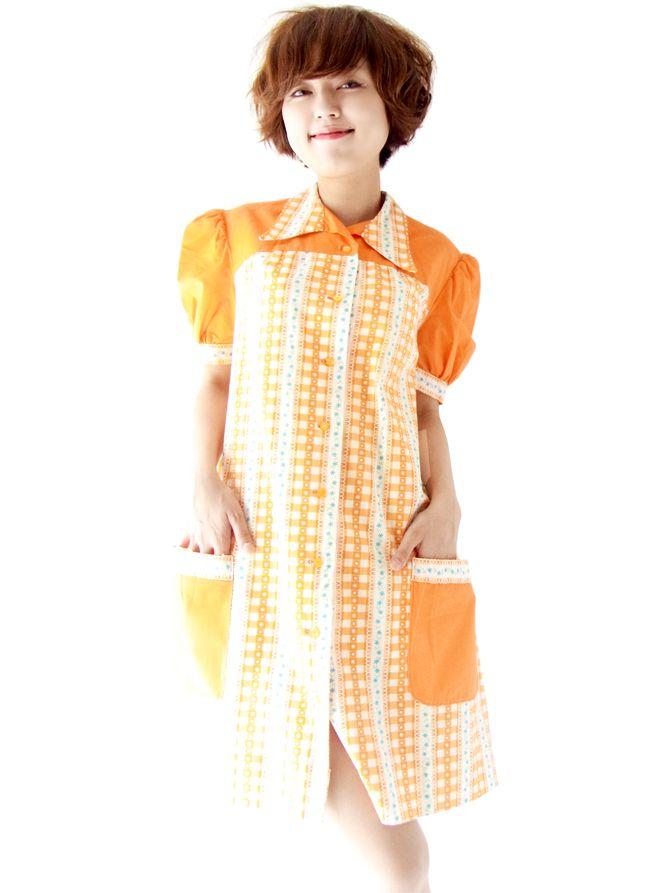 ヨーロッパ古着  フランス買付 60年代製 オレンジ X ホワイト チェック・花柄 チュニック ワンピース : 12FC14