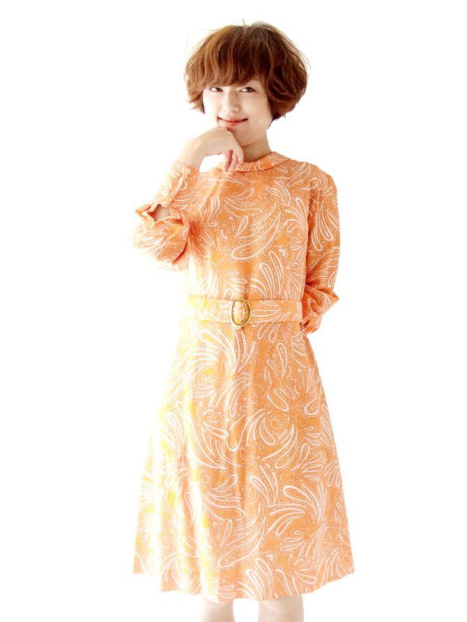 ヨーロッパ古着 ロンドン買い付け オレンジ X ホワイト ペイズリー ベルト付き ヴィンテージ ワンピース : 13BS110
