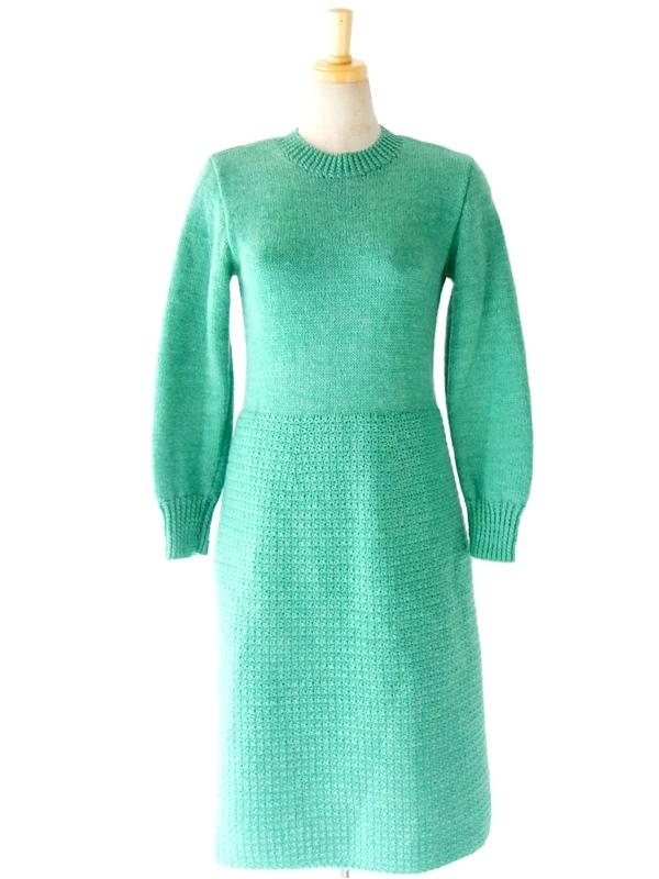 ヨーロッパ古着 フランス買い付け 60年代製 エメラルドグリーン X クルーネック ウール ワンピース : 13FC716