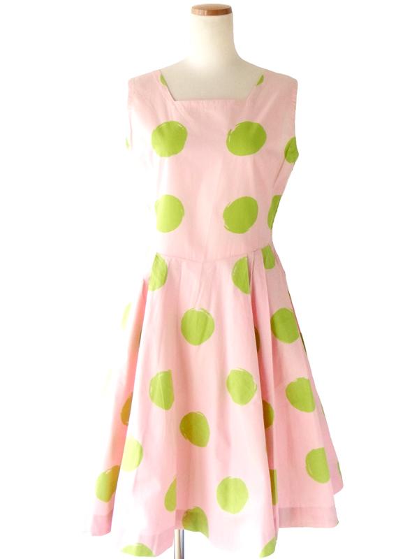 63年代製 ピンク X グリーン 水玉プリント ワンピース