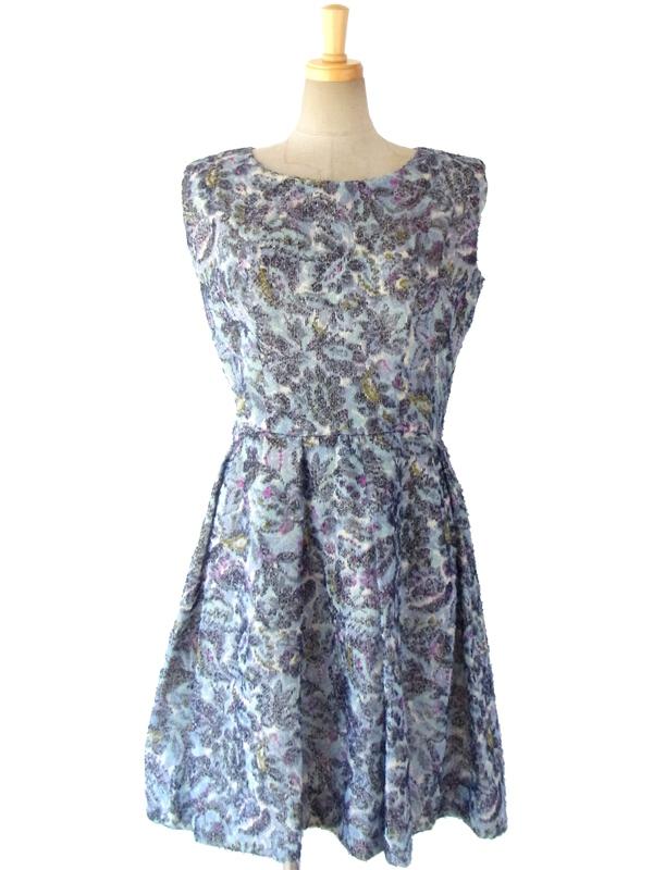 ヨーロッパ古着 60年代フランス製 繊細なウールが織りなす美しいグラデーションの花柄 ヴィンテージ ドレス 15FC308
