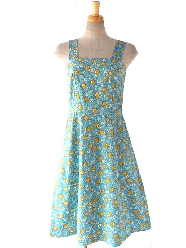 ヨーロッパ古着 ロンドン買い付け 60年代製 水色 X オレンジ・グリーン 花柄 ヴィンテージ ワンピース 16BS025