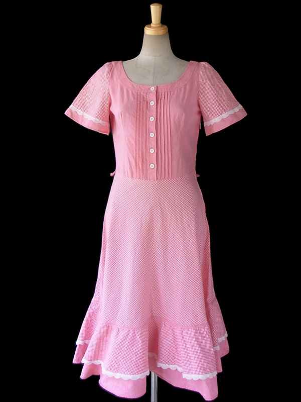 ヨーロッパ古着 ロンドン買い付け 60年代製 ピンク X ギンガムチェック カットレース フレアスカート ワンピース 16BS111