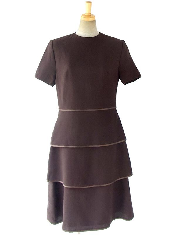 【送料無料】70年代 フランス製 ダークブラウン ヴィンテージ ティアード ウール ドレス 16BS413【ヨーロッパ古着】