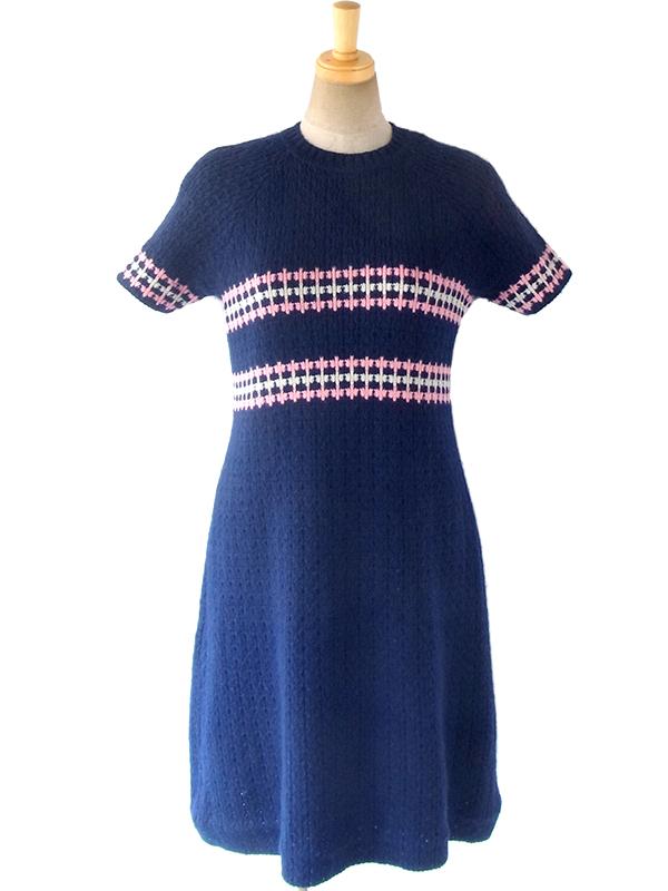 ヨーロッパ古着 フランス買い付け 60年代製 ネイビー X ピンク・ホワイト レトロ柄 リブ編み ウール ニット ワンピース 16FC503