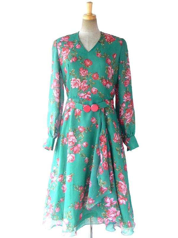 【送料無料】フランス製 グリーン X 薔薇プリント カスケードスカート 共布ベルト付き シフォン ドレス 16FC507【ヨーロッパ古着】