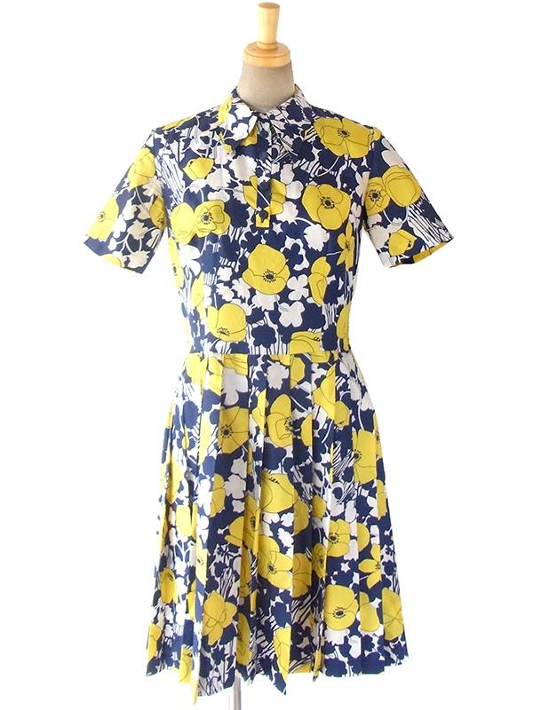 ヨーロッパ古着 ロンドン買い付け 60年代製 ブルー X イエロー・ホワイト 花柄プリント プリーツ ワンピース 16OM616