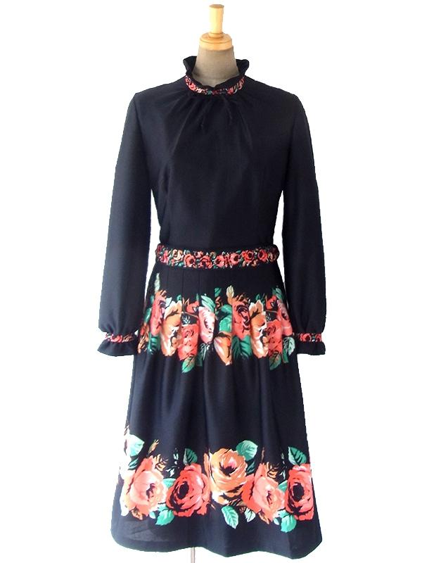 ヨーロッパ古着 ロンドン買い付け 70年代製 ブラック X 薔薇プリント 共布ベルト付き ヴィンテージ ワンピース 16OM815