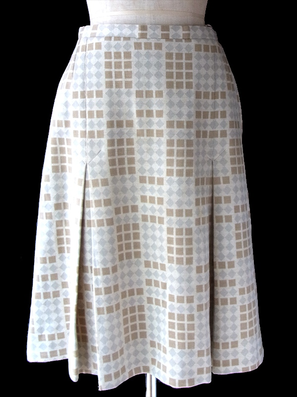 ヨーロッパ古着 60年代フランス製 アイボリー X シルバー・ゴールド ダイヤ柄 ウール スカート 17FC514
