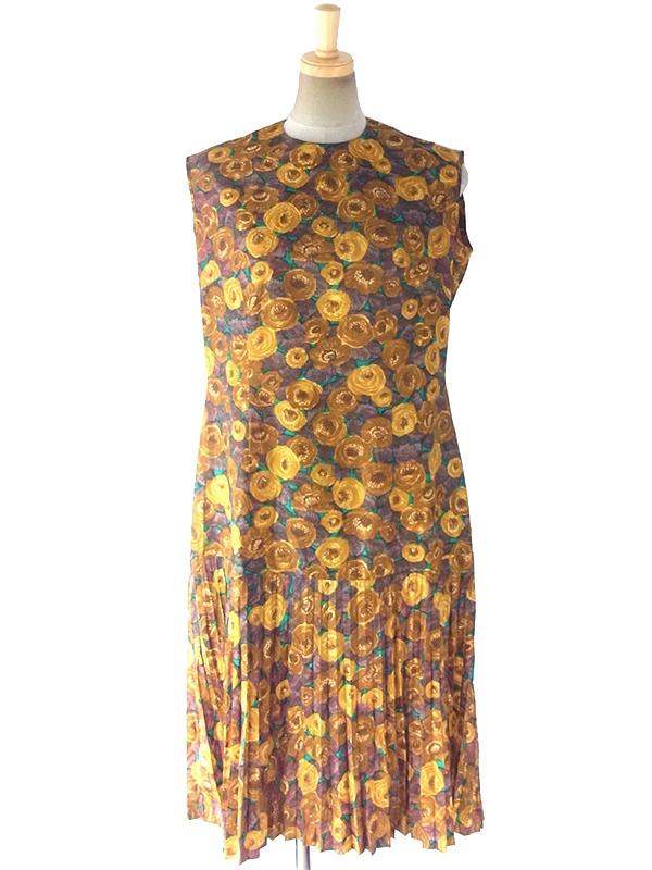 ヨーロッパ古着 ロンドン買い付け 70年代製 グリーン X ゴールド・ブラウン 花柄 ドロップウェスト プリーツ ワンピース 17OM619