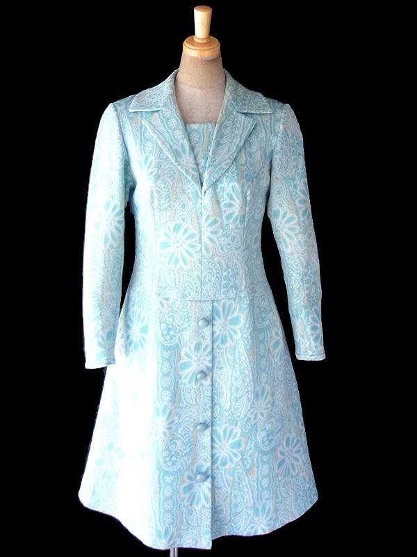 フランス買い付け 60年代製 水色 X クリーム色 花柄モチーフのレトロ柄が織られた生地 ワンピース 18FC410