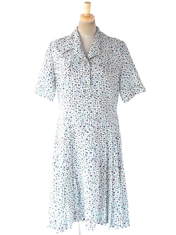 ヨーロッパ古着 フランス買い付け 60年代製 オフホワイト X パープル・水色 格子・水玉 プリーツ ワンピース 19FC018