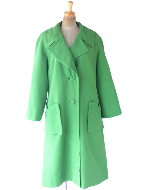 ヨーロッパ古着 フランス買付 60年代製 ブライトグリーン X ビッグステッチ 曲線切れ込み ウール コート 19FC418