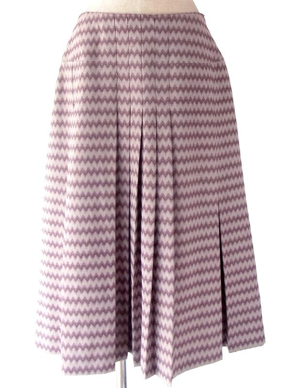 ヨーロッパ古着 60年代フランス製 パープル X ホワイト 山道柄 ヴィンテージ プリーツ スカート 19FC427