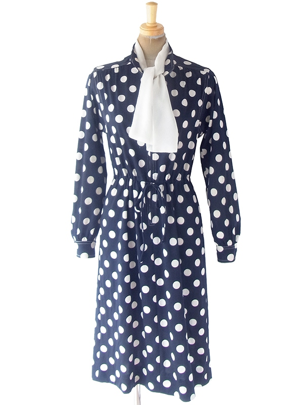 ヨーロッパ古着 ロンドン買い付け 70年代製 ネイビー X ホワイト 水玉 スカーフ付き フロントジップ ワンピース 19OM810
