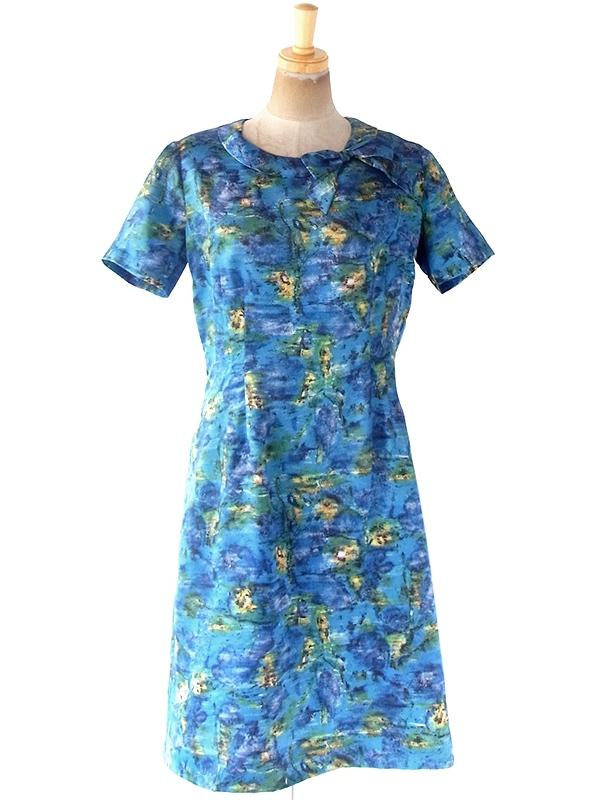 ヨーロッパ古着 フランス買い付け 70年代製 ブルーを基調とした絵画のようなプリント リボン付き 化繊サテン ドレス 20FC000