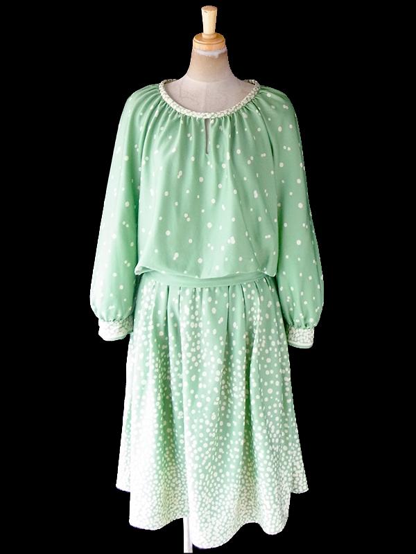 ヨーロッパ古着 フランス買い付け 70年代製 若草色 X オフホワイト 水玉 共布ベルト付き プリーツ ワンピース 20FC615