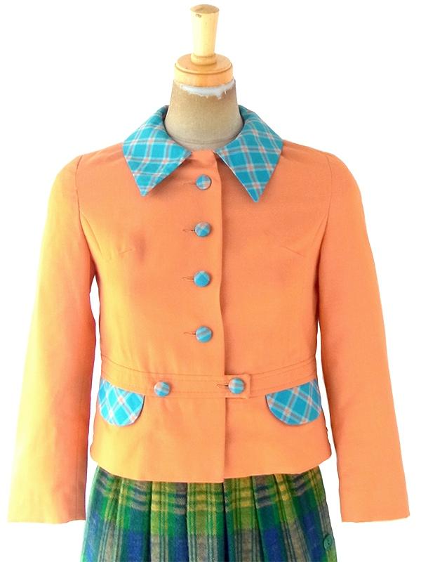 ヨーロッパ古着 ロンドン買付け 60年代製 オレンジ X 水色 ギンガムチェック くるみボタン ショート丈 ジャケット 4LA806