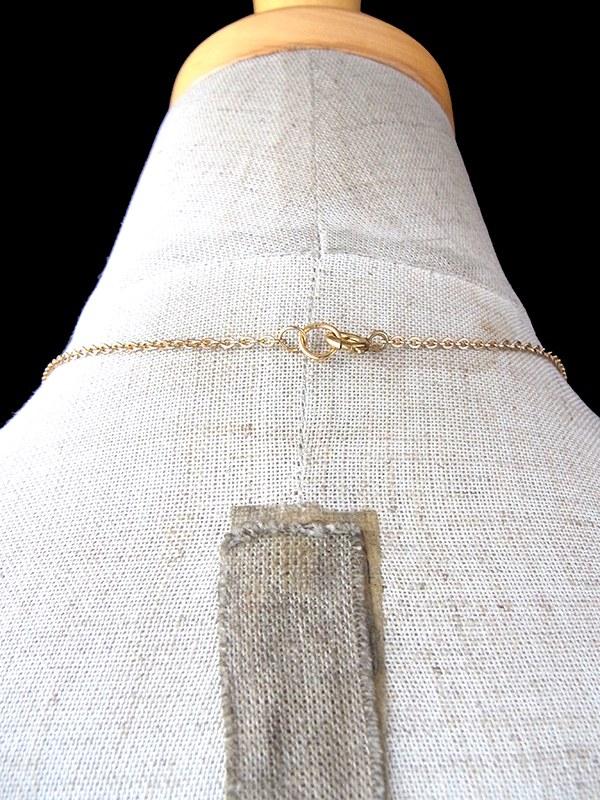 【アクセサリー】ロンドン買い付け ゴールド X グリーン ラインストーン アンティーク ネックレス 09UK302【ヨーロッパ古着】
