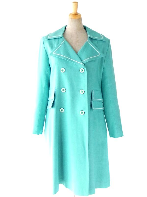 ヨーロッパ古着 ロンドン買い付け 60年代製 パステルカラー 水色 リネン スプリング コート: 09UK311