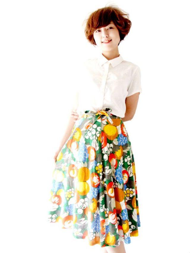 ヨーロッパ古着 ロンドン買い付け カラフル 花柄 ヴィンテージスカート : 09UK464