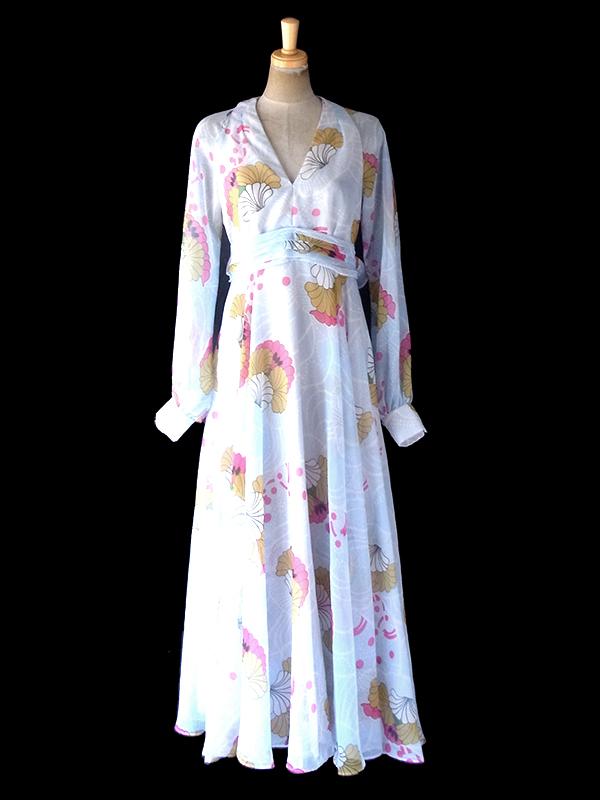 ヨーロッパ古着 スペイン製 ペールブルー X 花柄プリント シフォン地 マキシ ドレス 11PO246
