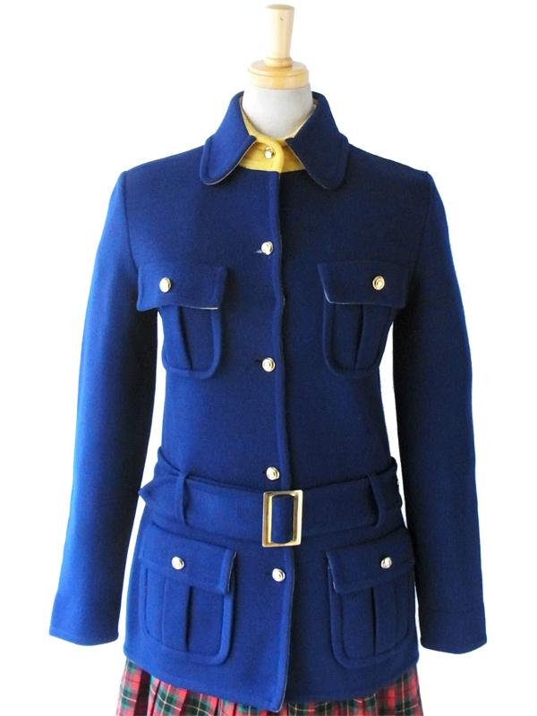 【送料無料】ロンドン買付 60年代製 ブルー X イエロー 大人可愛い レトロ ウールコート 11PO94【ヨーロッパ古着】