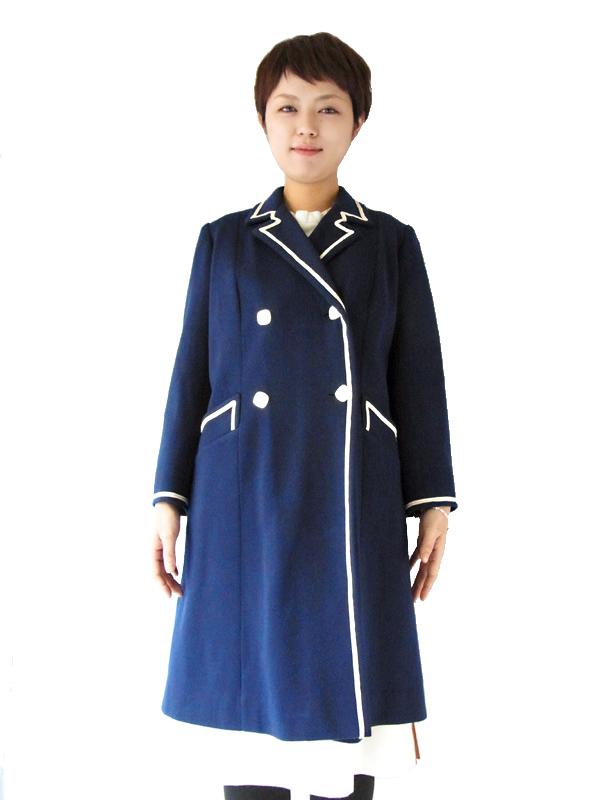美しいロイヤルブルーのエレガントなライン♪映画に出てきそうなフランス買付けウールコート