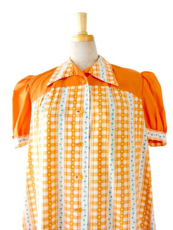 フランス買付 60年代製 オレンジ X ホワイト チェック・花柄 プリント ワンピース :古着 12FC14