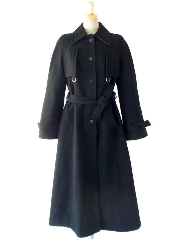 ヨーロッパ古着 フランス買付け ブラック X 千鳥格子 トレンチ風シルエット ヴィンテージ ウール コート