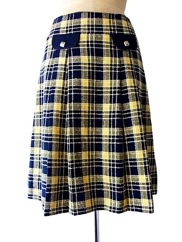 フランス買付け ブルーXイエロー タータンチェック スカート ヨーロッパ古着