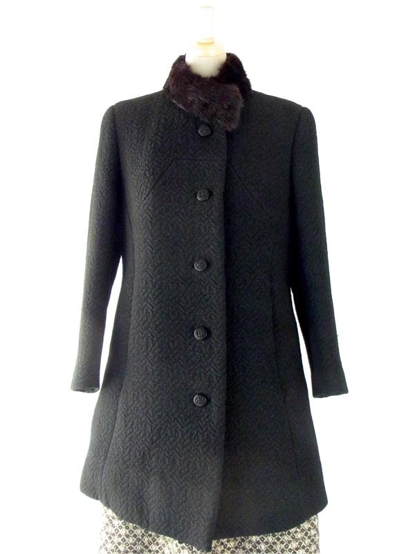 ロンドン買い付け 60年代製 ブラック 波模様×ファー襟 ヴィンテージ ウール コート : 13BS250