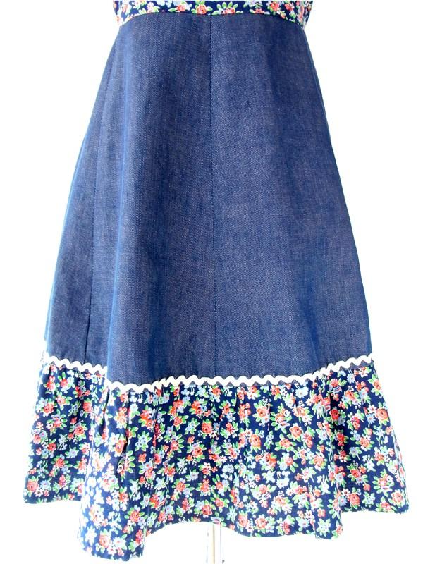 ヨーロッパ古着 フランス買い付け 60年代製 大人可愛い 花柄 レトロガーリー デニム ワンピース : 13FC207
