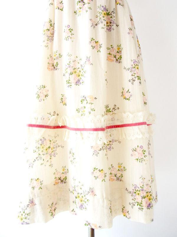 ヨーロッパ古着 フランス買い付け ヴィンテージ ワンピース ローラアシュレイ風 花柄 プリント