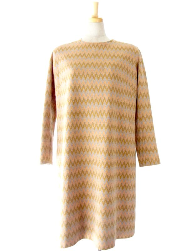 60年代製 ピンク X ゴールド・グレイ ギザギザ矢柄 襟着脱可能 ワンピース : 13FC514