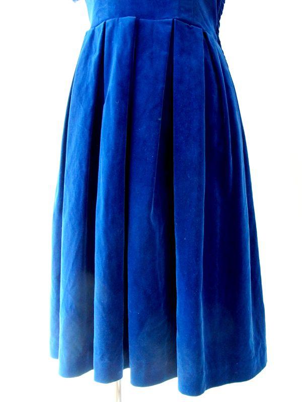 ヨーロッパ古着 フランス買い付け ブルー ベルベット リアルファー衿 ヴィンテージ ワンピース 13FC520