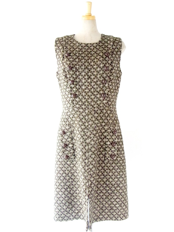 フランス買い付け グリーン・ブラウン・ホワイト ジャカード織り ウール ワンピース : 13FC524