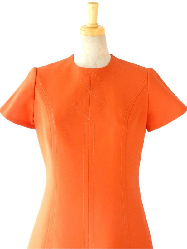 ヨーロッパ古着 フランス買い付け 60年代製 オレンジ X デザインステッチ Aライン ウール ワンピース : 13FC700